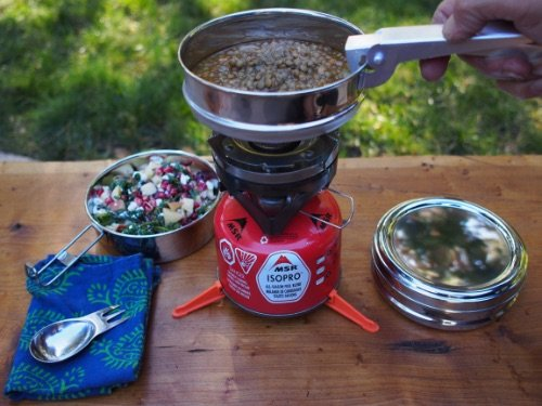 Cooking on a propoane gas caming stove