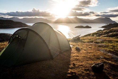 Tent overlooking a lake